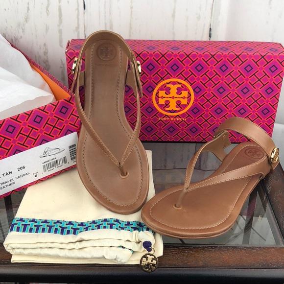 080791e52465  Tory Burch  Tan Minnie Travel Thong Sandals